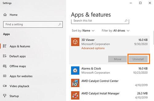 App & Feature trên window 10