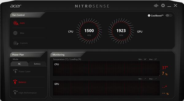 Ứng dụng NitroSense trên Acer Nitro 5