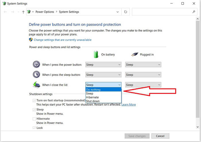 System Setting để xuất màn hình trong khi gập laptop