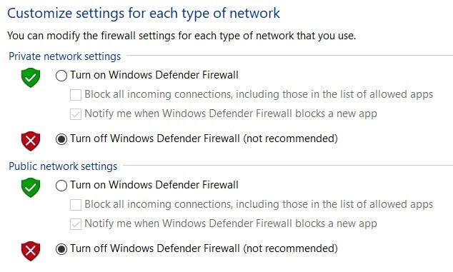 Tắt tường lửa Window Defender Firewall