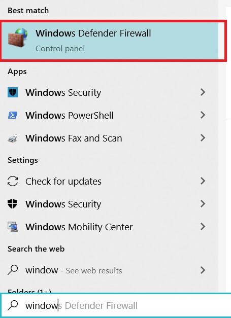 Tìm kiếm window defender firewall trên Start Menu