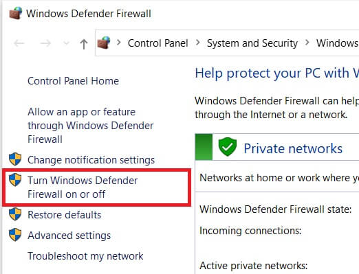 Turn Window Defender Firewall on of off