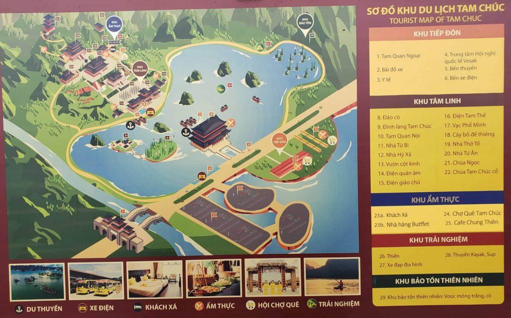 Sơ đồ, bản đồ chùa Tam Chúc 2021