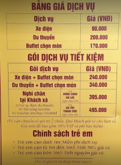 Bảng giá du lịch chùa Tam Chúc