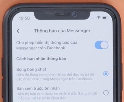 Chi tiết thông báo qua messenger
