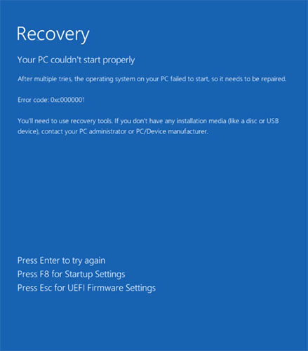 lỗi Recovery, your pc couldn't start properly Windows 11