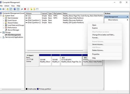 Chia phân vùng trên Disk Managerment