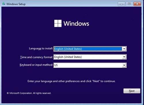 Chọn ngôn ngữ và quốc gia cài đặt window 11