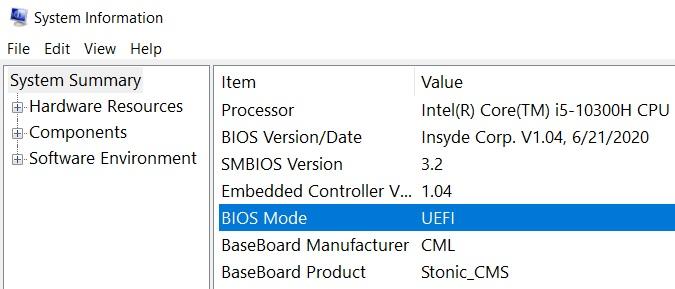 Kiểm tra UEFI trên Windows