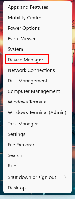 mở device manager bằng windows + x