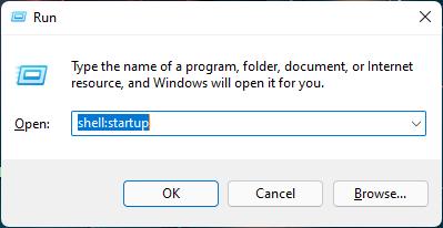 Mở cửa sổ startup bằng run
