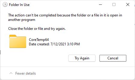 Sửa lỗi folder in use và file in use