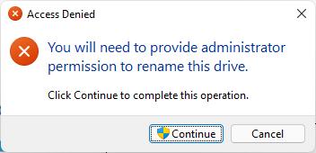 Xác nhận dổi tên ổ đĩa với admin