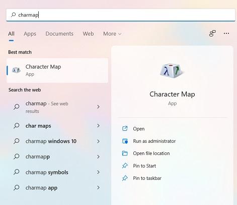 Mở Character Map bằng thanh tìm kiếm