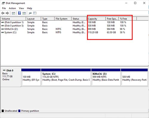 Sử dụng Disk Management để xem dung lượng ổ cứng