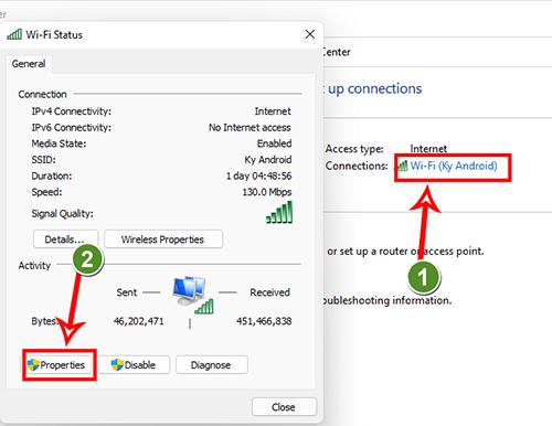 Cửa sổ Wifi Status