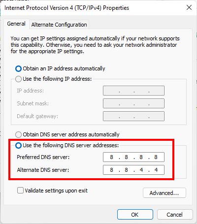 Thay đổi DNS trong Internet Protocol Version 4