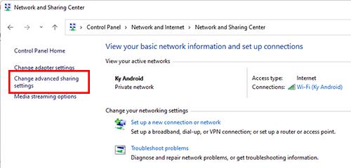 Vào Change advanced sharing settings