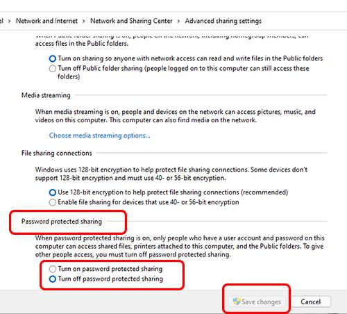 Tắt yêu cầu passwork khi kết nối máy in