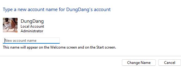Thay đổi tên user trên windows 11