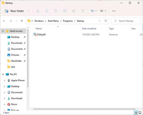 Cách mở thư mục startup trong windows