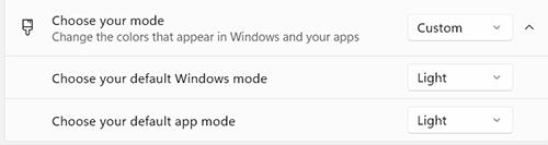 tuỳ chọn chế độ nền cho app và windows