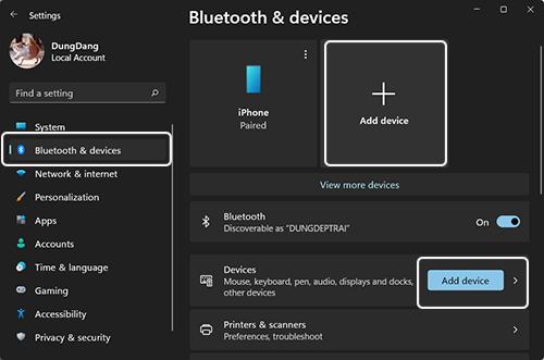 Cài đặt Bluetooth trên Windows 11