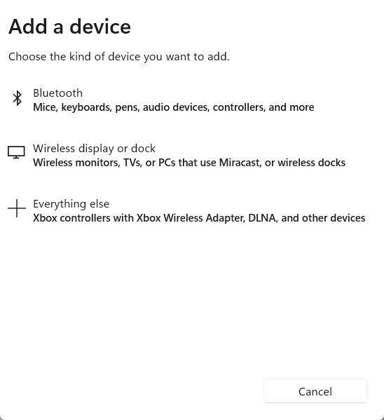 Chọn device tương ứng để kết nối