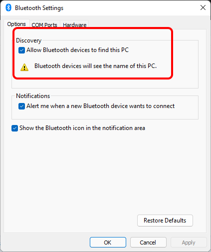 Chọn Allow Bluetooth devices to find this PC