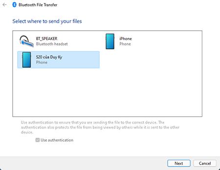 Chọn thiết bị đã kết nối để chia sẻ file, tệp qua bluetooth