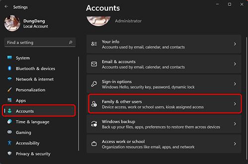 Cách truy cập vào user trong cửa sổ setting