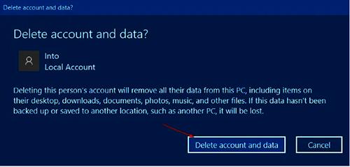 Thông báo nhắc bạn có muốn xoá User và data