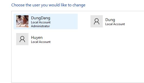 Truy cập vào User trong control panel