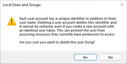 thông báo hỏi bạn có chắc muốn xoá User này