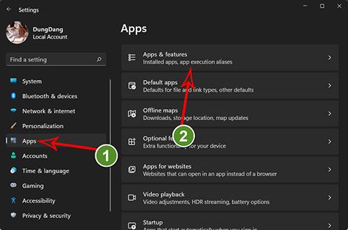 Truy cập  App & Features từ cửa sổ setting