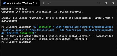 Đăng ký lại Windows Store Window Powershell