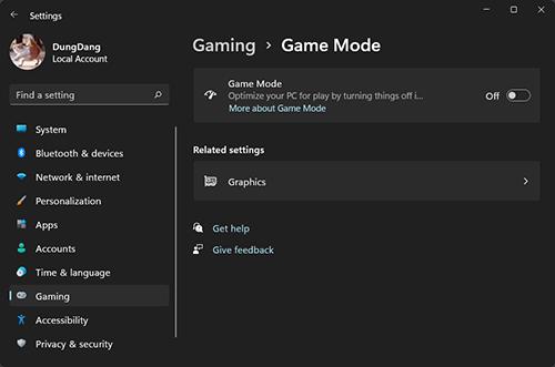 Bật Game Mode trong setting windows