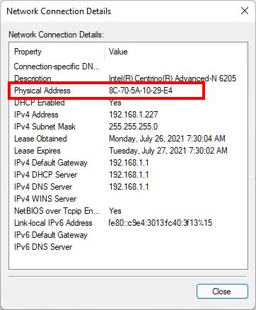 Xem địa chỉ mac thông qua Network connections