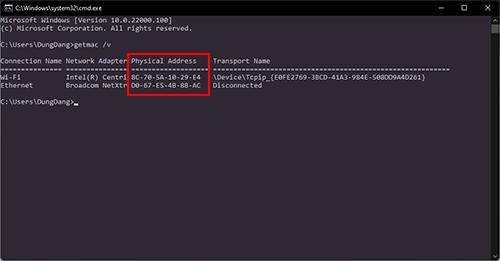 Tìm địa chỉ Mac bằng CMD
