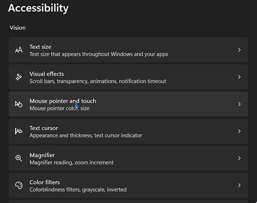 Trong thư mục Accessibility chọn Mouse pointer and touch