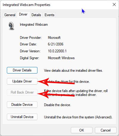 cửa sổ thuộc tính Webcam