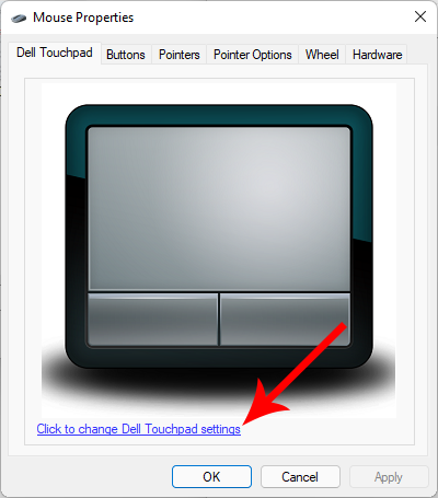 Click to change Dell Touchpad setting