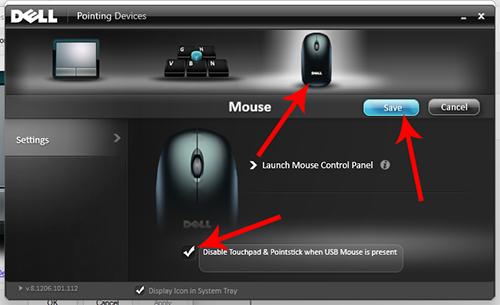 Cửa sổ Pointing Devices trên dòng laptop dell