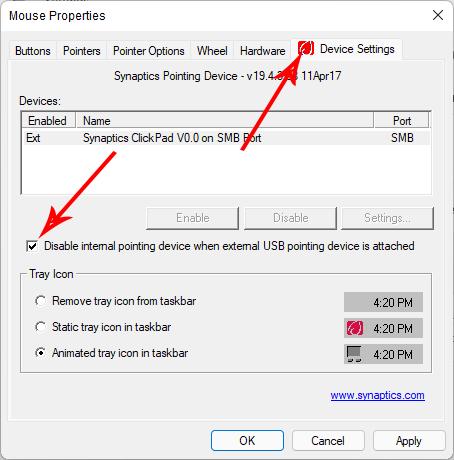 Các cách vô hiệu Touchpad khi sử dụng chuột