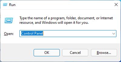 Gõ Control Panel trong cửa sổ Run