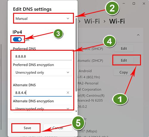 Thay đổi DNS trong setting