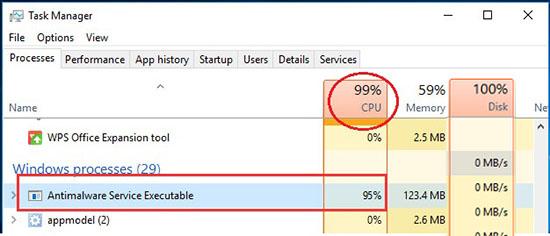 Antimalware Service Executable ngốn CPU và ổ cứng Disk