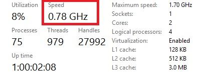 CPU tụt xung thấp