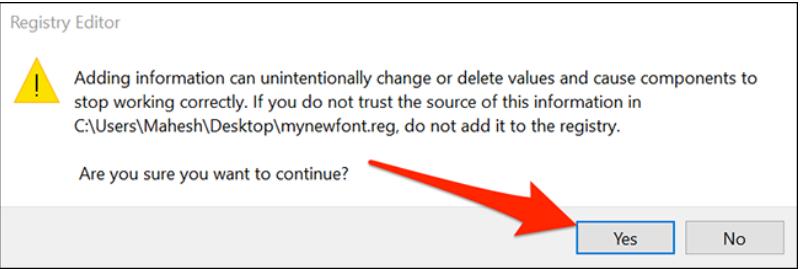 chọn yes để đòng ý thay đổi thiết lập Registry