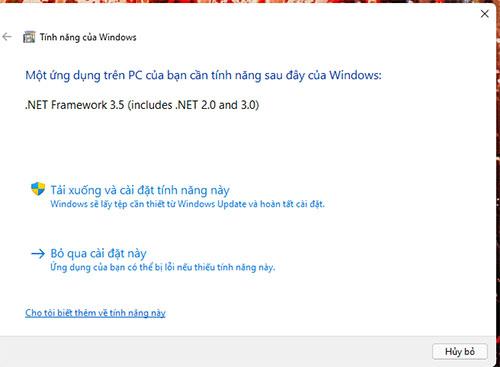 Bảng cài đặt Net Framework 3.5 trên Windows 11 tiếng việt